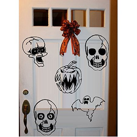 HALLOWEEN DECOR ~ GHOULS QTY 5 ~ HALLOWEEN: WALL OR WINDOW DECAL, 5