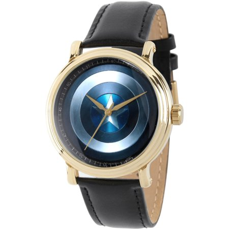 Avengers: 75th Anniversary Shields Men's Gold Vintage Alloy Watch, Black Leather Strap