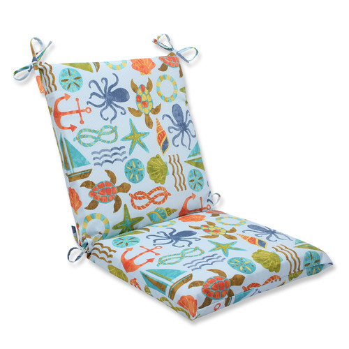 Pillow Perfect Outdoor/ Indoor Seapoint Blue Summer Squared Corners Chair Cushion