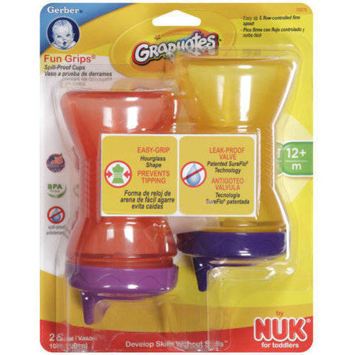 Gerber Graduates Fun Grips Spill-Proof Cups, BPA-Free, 2ct (Colors May Vary)