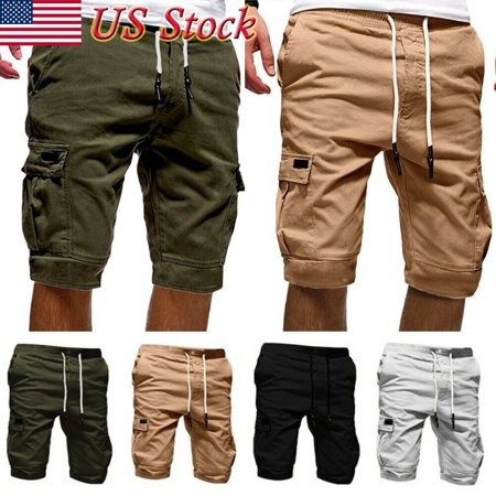 Men Casual Jogger Shorts Sports Cargo Pants Military Combat Workout Gym Trousers (White Cargo Pants)