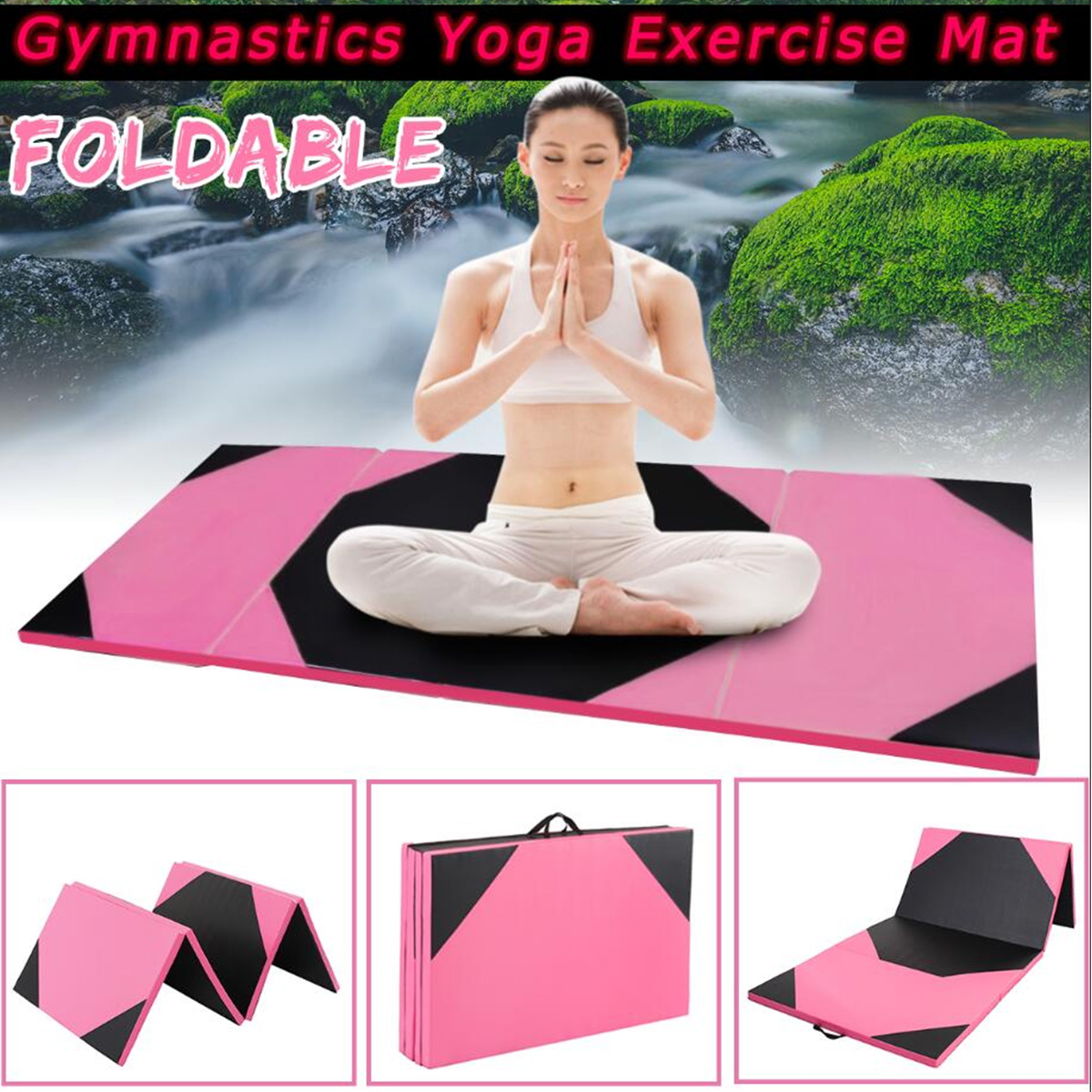 6'/10' Folding Panel Gymnastics Mat Gym Fitness Exercise Stretching Tumbling Yoga Mat