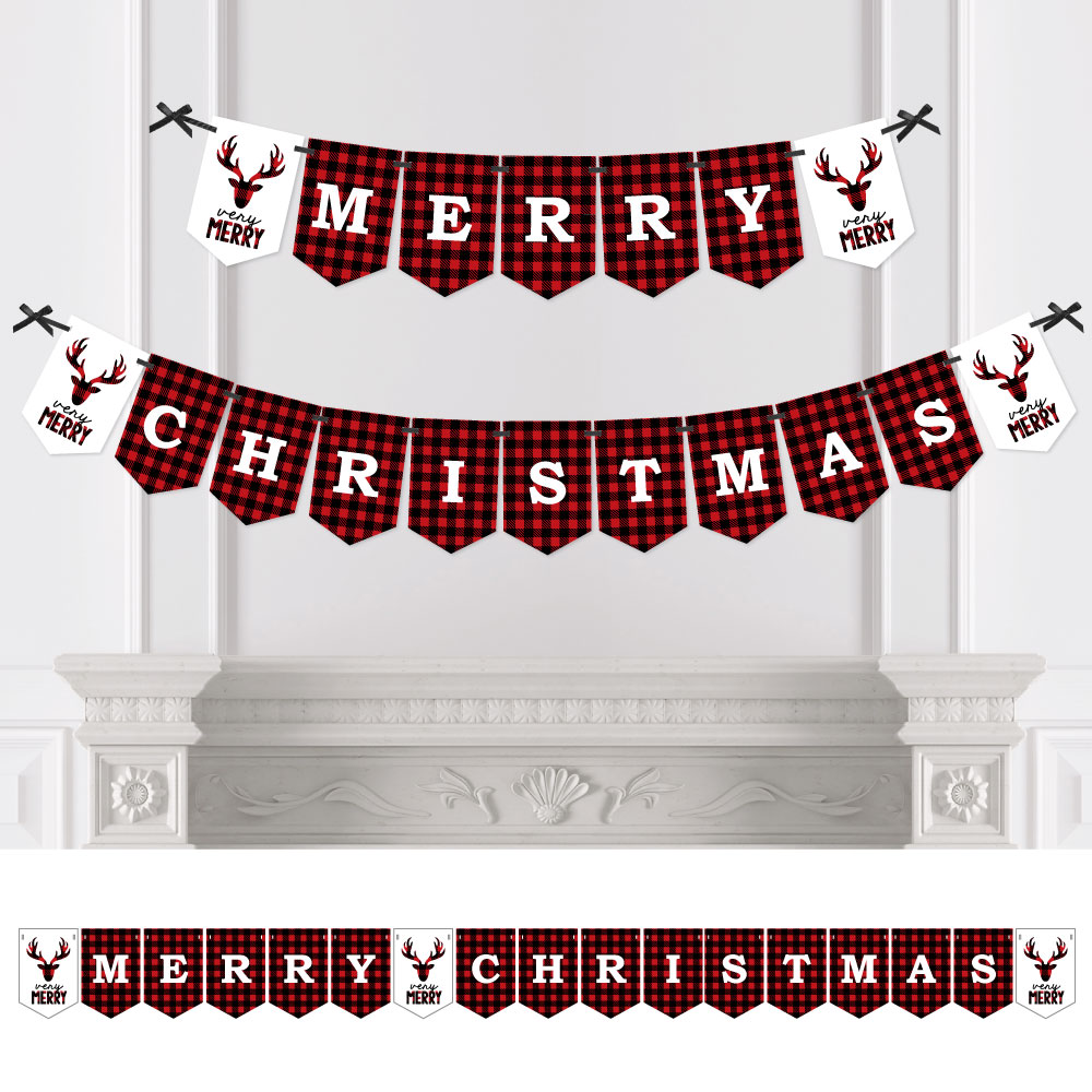 Prancing Plaid - Christmas Buffalo Plaid Bunting Banner - Lumberjack Party Decorations - Merry Christmas