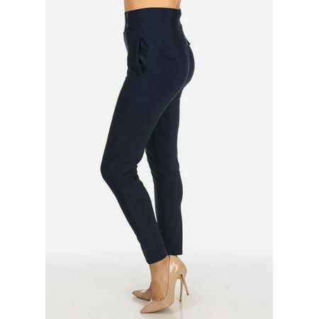 Womens Juniors High Rise Navy Elastic Waist 2-Pocket Pull On Elegant Pants