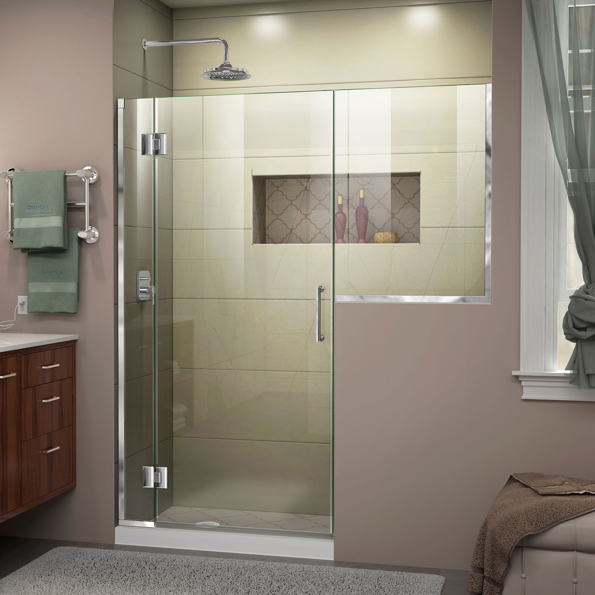 DreamLine Unidoor-X 65-65 1/2 in. W x 72 in. H Frameless Hinged Shower Door in Chrome