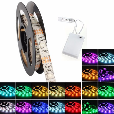 LED Strip Lights, Waterproof Flexible Strip Lights Color Changing RGB LED Strip Light Kit with DC4.5V Battery Box for TV Backlight Desktop Bedroom Home Christmas Lighting ()