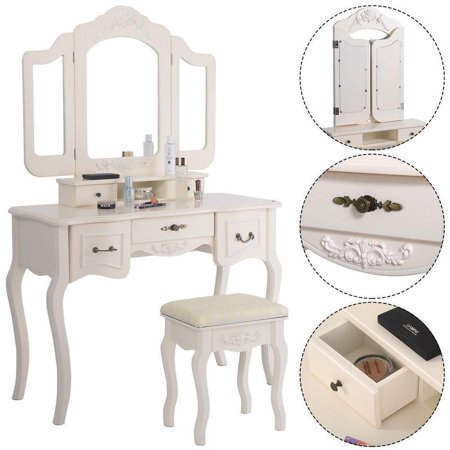 Ktaxon Tri Folding Mirror Vanity Set 5 Drawers Dressing Table Makeup Desk With Stool White