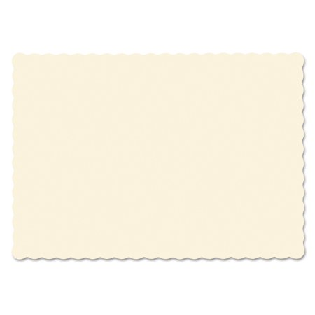 Hoffmaster Ecru Solid Color Scalloped Edge Placemats, 1000 count