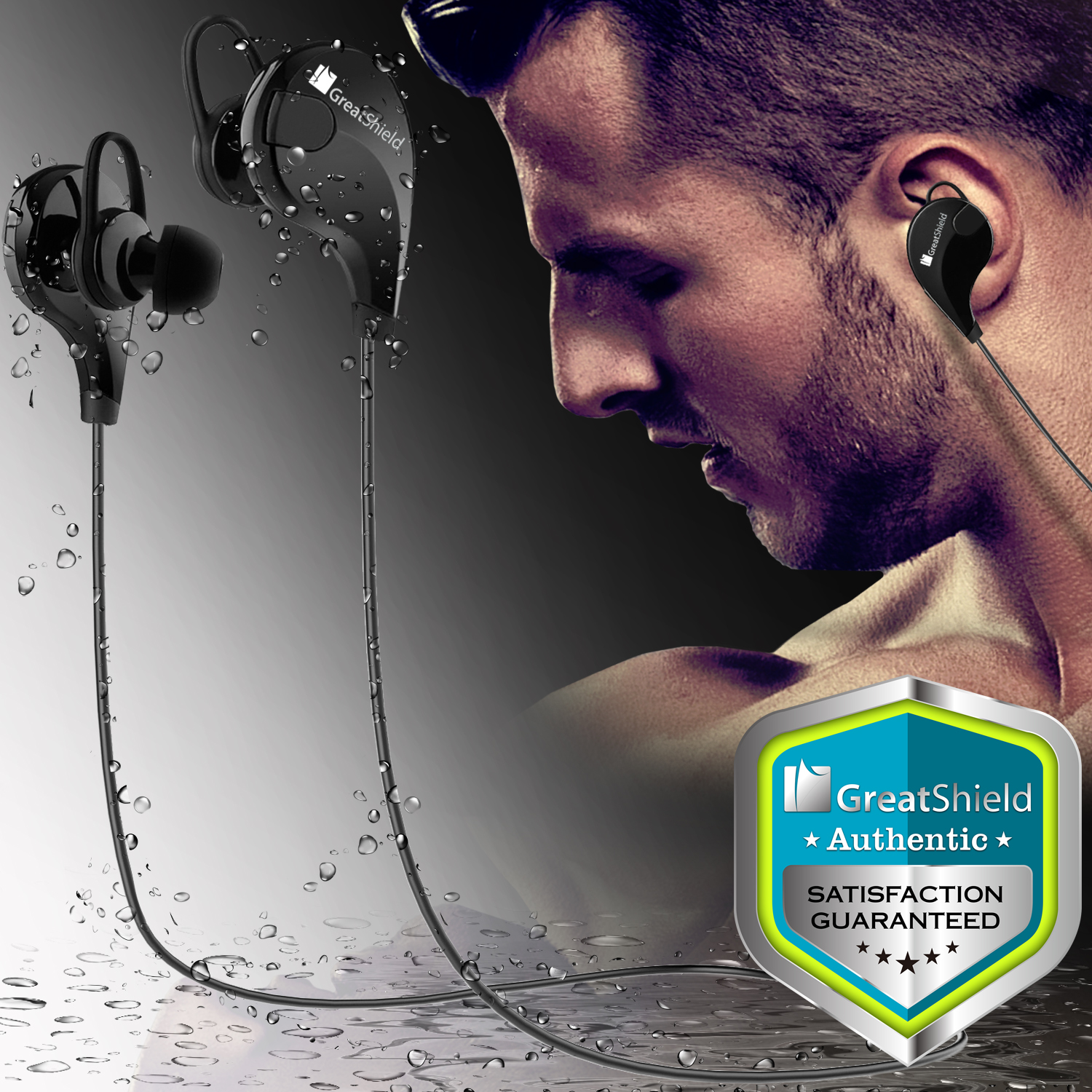 Bluetooth Headphones, GreatShield BE1 Wireless Headset In-Ear Earbuds with Built in Mic [ Sports | Fitness | Running ] Noise Isolating Cancelling Earphones for Smartphones - Black