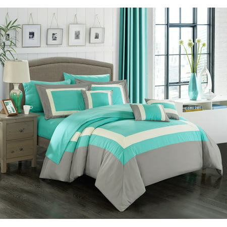 Valley Bedding Collection - Chic Home 10-Piece Darren Complete-Pieced color block bedding, sheets collection Queen Turquoise