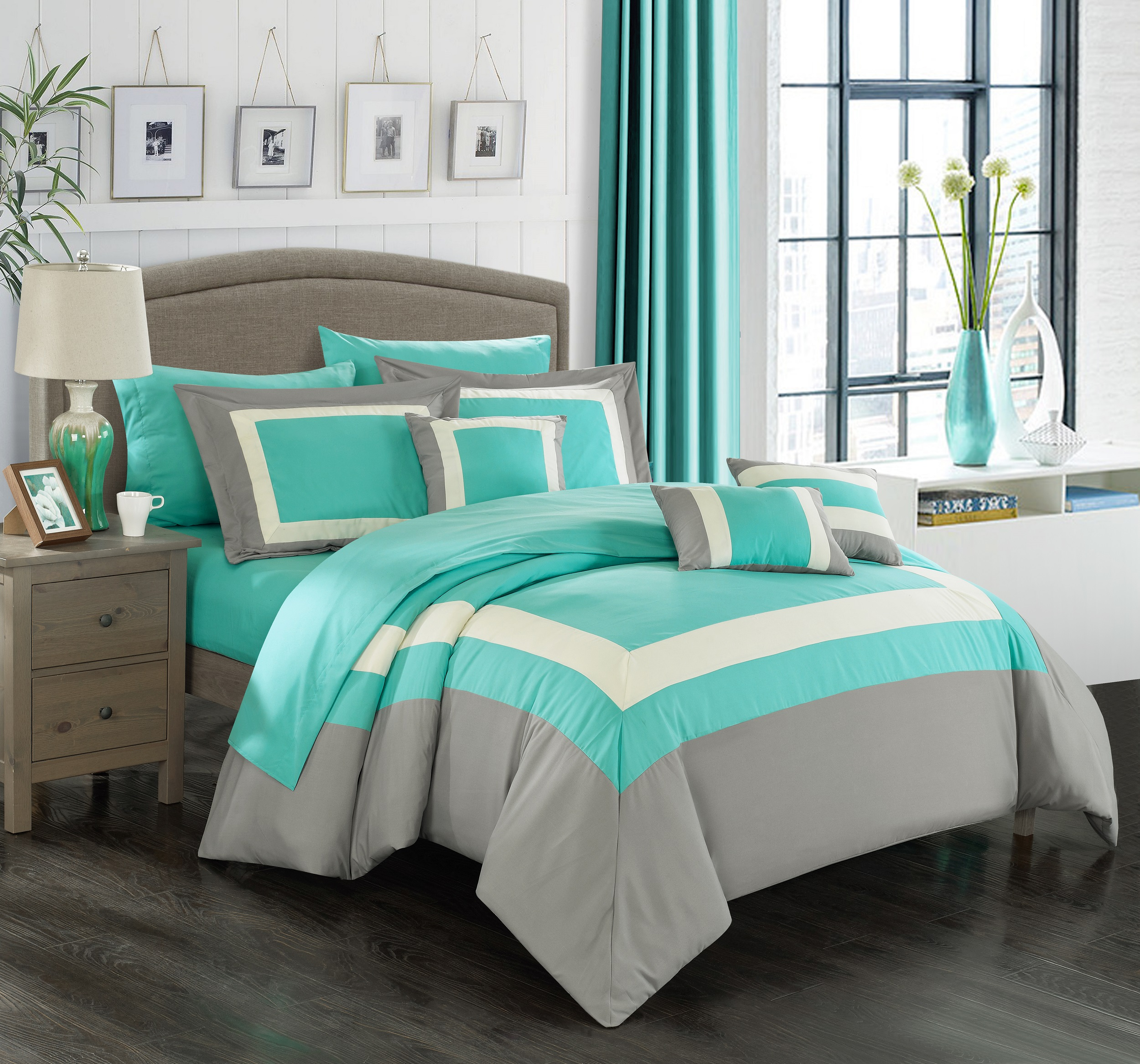 Chic Home 10-Piece Darren Complete-Pieced color block bedding, sheets collection Queen Turquoise