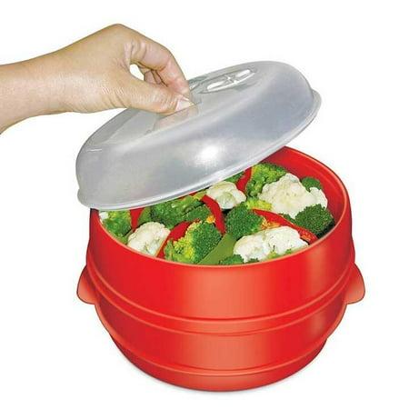 Handy Gourmet Jb6216 2 Tier Microwave Steamer Red