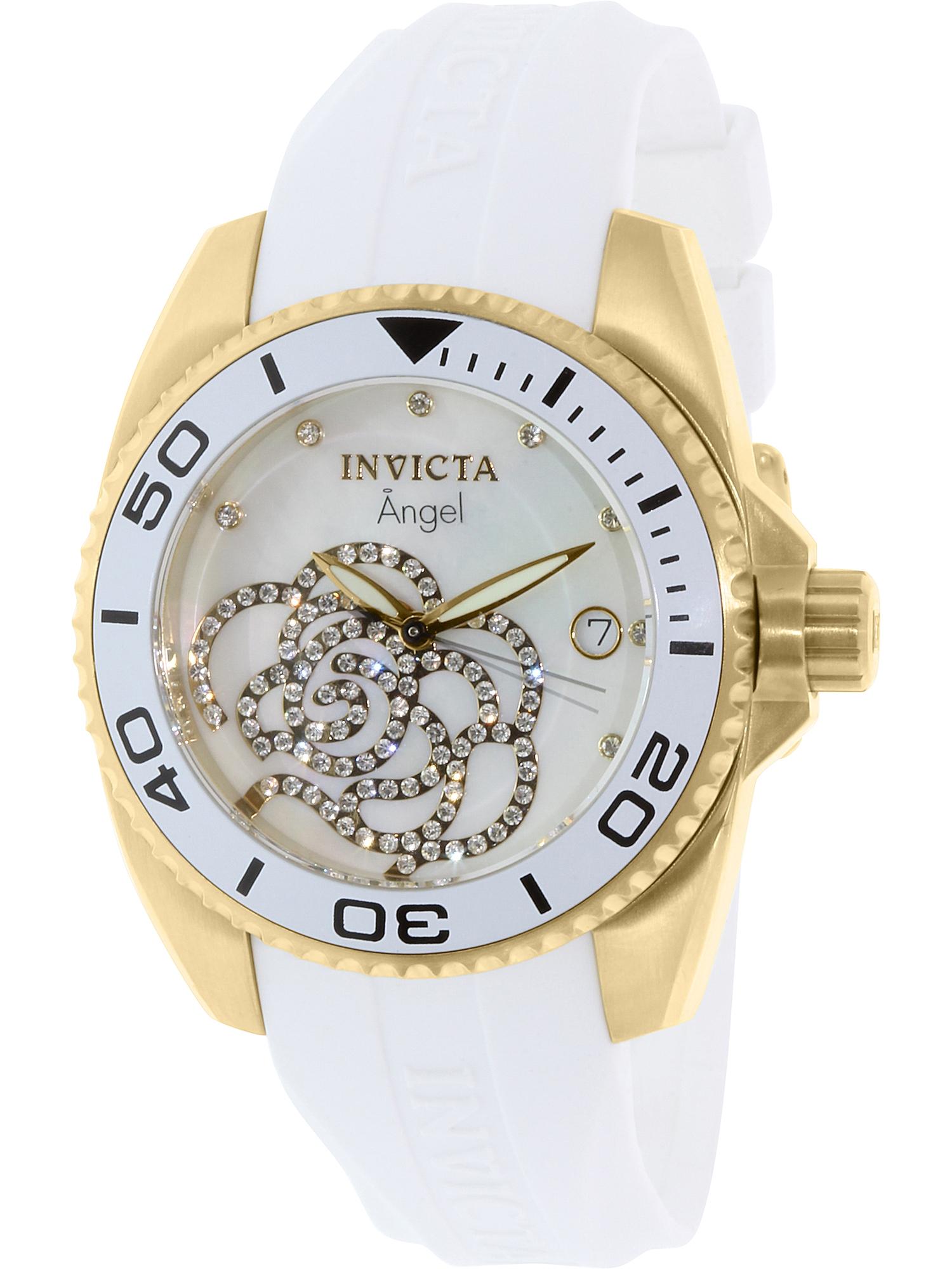 Women's 0488 Angel Gold-Tone White Polyurethane Band Watch