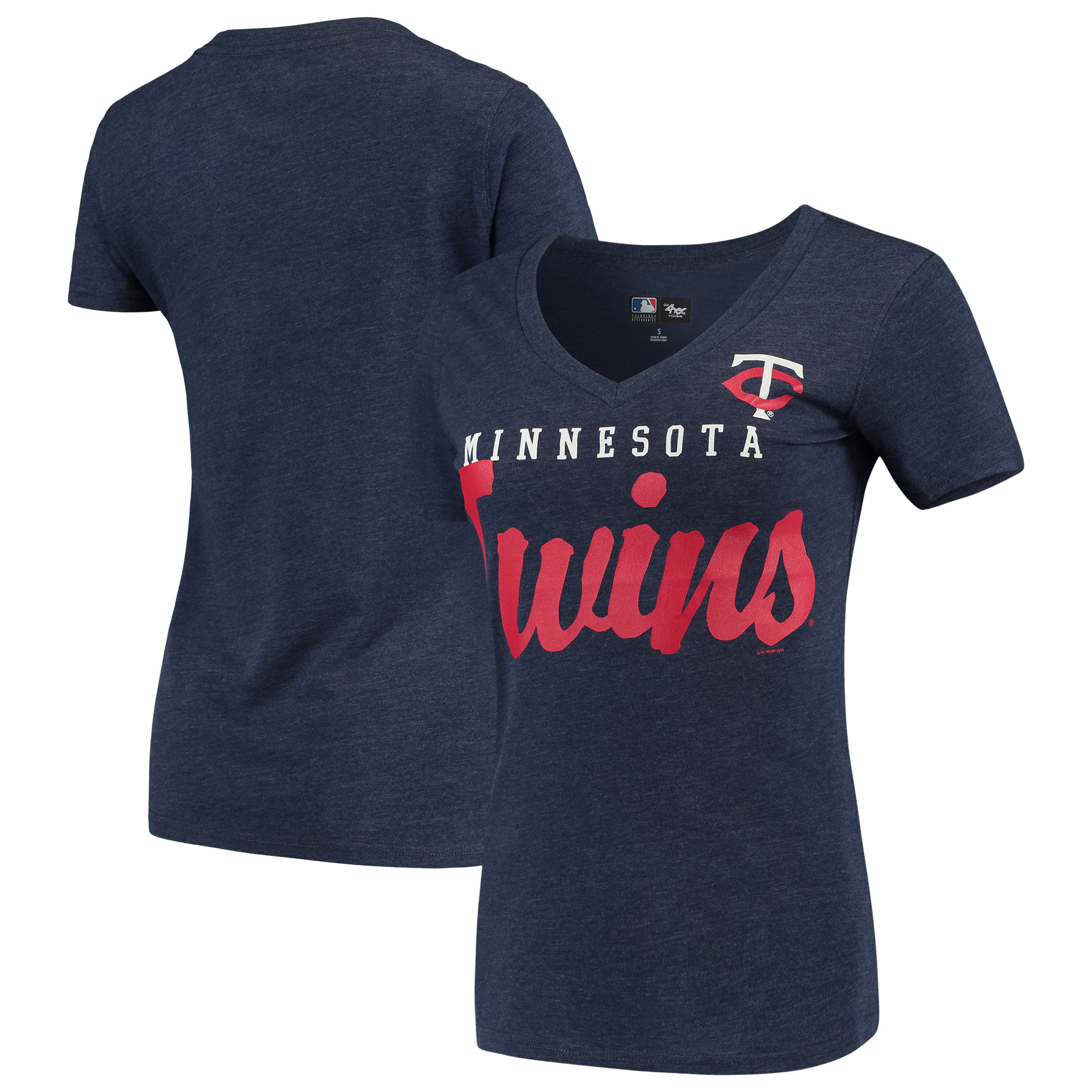 Minnesota Twins G-III 4Her by Carl Banks Women's Game Day V-Neck T-Shirt - Navy