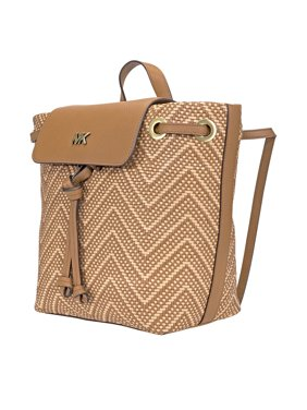 98c44fc1e299 Product Image Michael Kors Junie Medium Woven Leather Backpack -  Acorn/Butternut