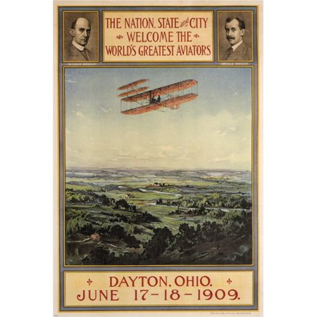 Vintage Aviator Wall (Welcome Wright'S Bros. Aviators 1909 Vintage Poster Plane Exhibition Usa 24X36)