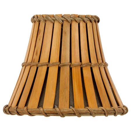All Natural Bamboo with Bronze Interior 4 Inch Flared Bell Clip On Chandelier (Bronze Vented Natural)