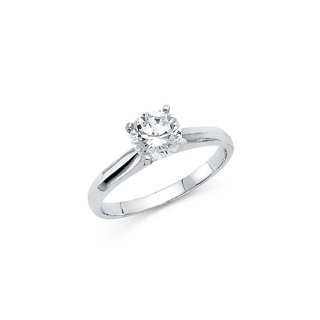 14K Solid White Gold 1.00 cttw Classic Traditional Round Brilliant Cut Solitaire Cubic Zirconia Engagement Ring , Size 8.5
