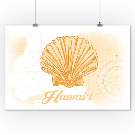 Hawaii - Scallop Shell - Yellow - Coastal Icon - Lantern Press Artwork (9x12 Art Print, Wall Decor Travel Poster)