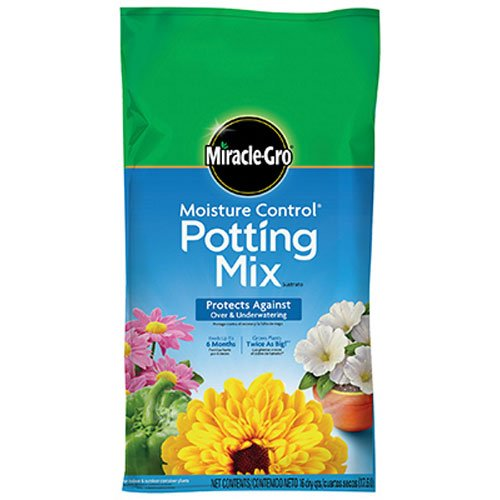 Miracle-Gro Moisture Control Potting Mix, 16-Quart (0.53-Cubic Feet), Grows Plants Twice as Big! vs unfed plants By MiracleGro