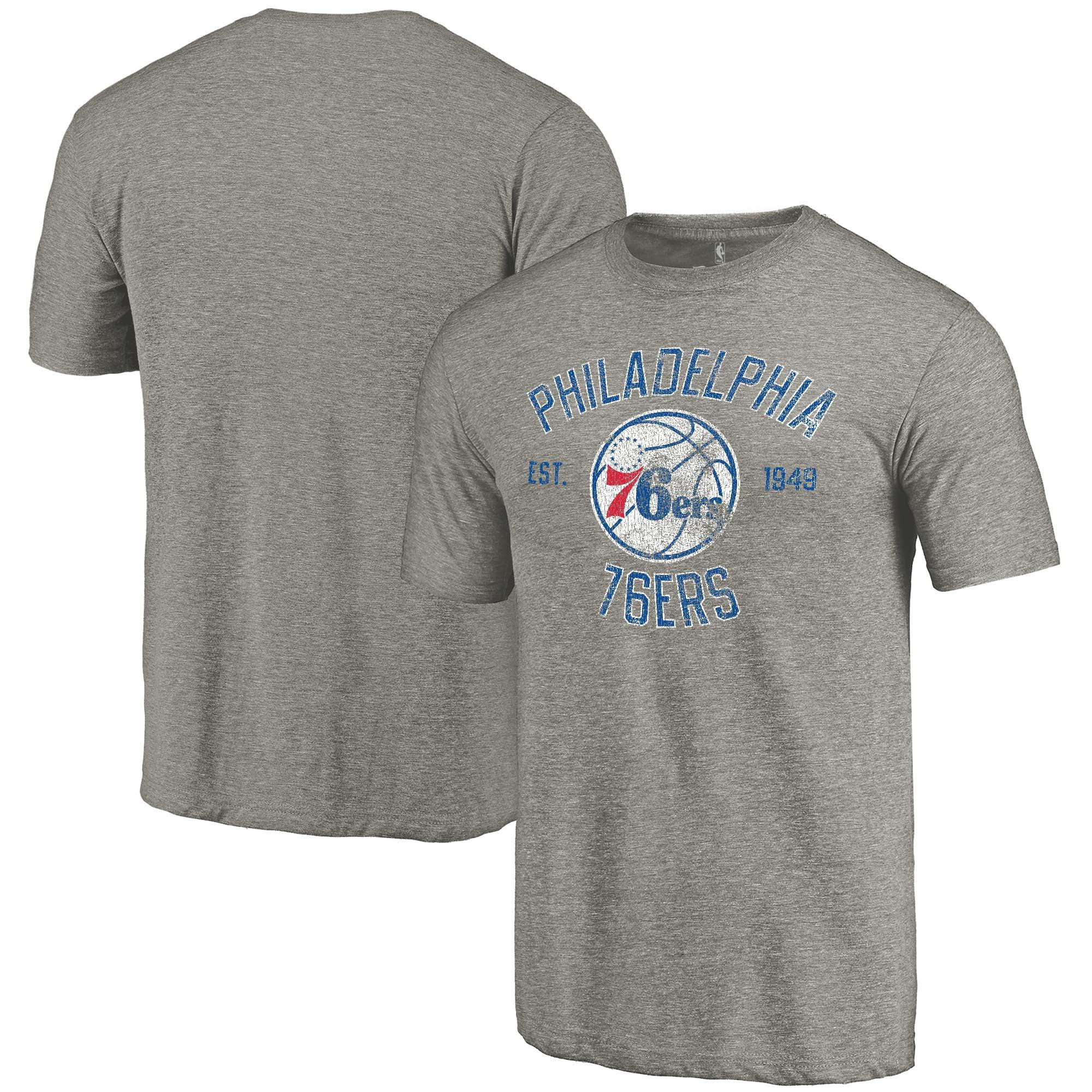 Philadelphia 76ers Fanatics Branded Team Heritage Tri-Blend T-Shirt - Gray