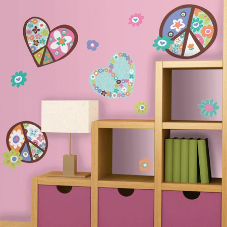 RoomMates Heart & Peace Sign Peel & Stick Giant Wall Decal (Laptop Decals Peace Signs)