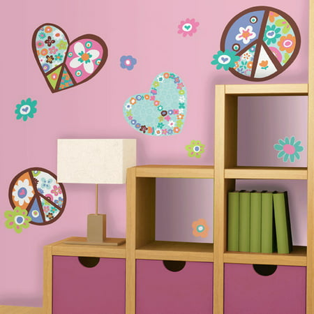 RoomMates Heart & Peace Sign Peel & Stick Giant Wall Decal