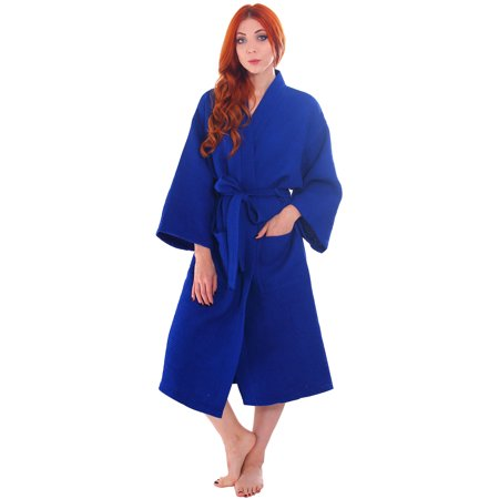 Simplicity - Men   Women s Cotton Honeycomb Waffle Kimono Bath Robe with  Pockets cbf6d3115