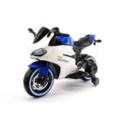 STREET RACER 12V ELECTRIC KIDS BATTERY POWERED  RIDE-ON MOTORCYCLE WITH LED WHEELS    BLUE