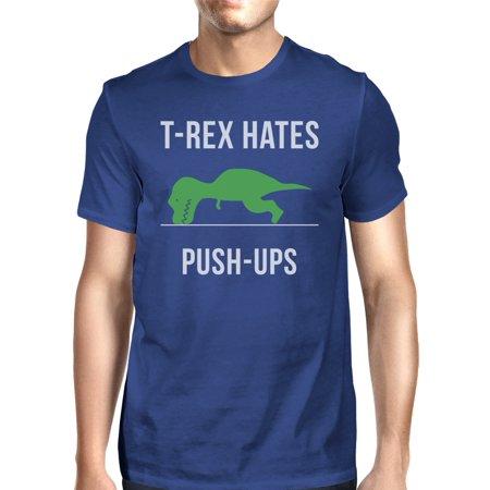 T-Rex Push Ups Mens Royal Blue Short Sleeve Cotton Made Tee