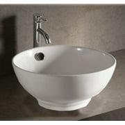 """Whitehaus Whkn1051 Isabella 16-7/8"""" Round Porcelain Vessel Bathroom Sink - White"""