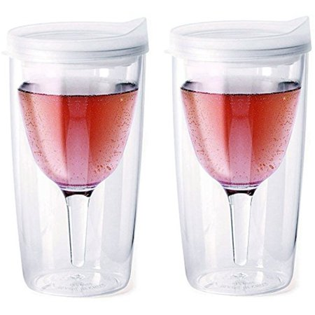 Vino2Go Double Wall Insulated Acrylic Wine Cup Tumbler with Frost Slide Top Lid, 10 oz, Pack of 2 - Wine Cups