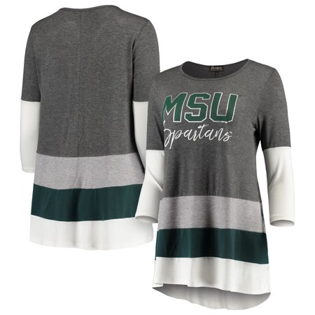 Michigan State Spartans Women's Block Party Color Blocked Drapey Long Sleeve Tri-Blend Tunic Shirt - Charcoal/Green - Spartan Tunic