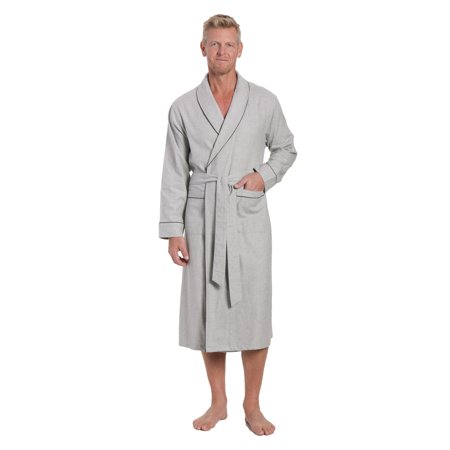 7542f030dd Noble Mount Mens Premium 100% Cotton Flannel Robe - Walmart.com