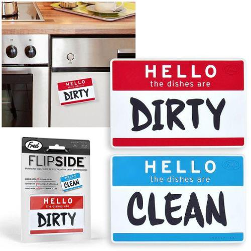 Fred & Friends Flip Side Hello Dishwasher Magnet Clean Dirty Dishes Kitchen Sign