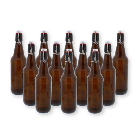 Swing Top Bottles w/ Caps - 16.9oz, Amber Glass, Reusable for Homebrew - 12 pack (Swing Top Bottles)