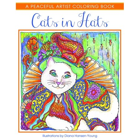 Cats in Hats: A Peaceful Artist Coloring Book (Paperback) - Cat Coloring Sheet