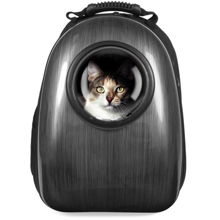Best Choice Products Pet Carrier Space Capsule Backpack, Bubble Window Lightweight Padded Traveler for Cats, Dogs, Small Animals w/ Breathable Air Holes - Charcoal