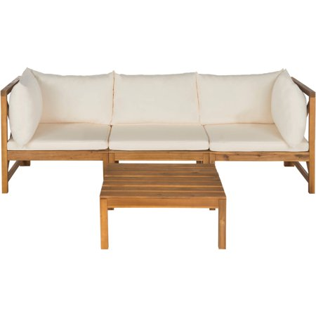 Safavieh Lynwood Outdoor Sectional Teak Brown Beige