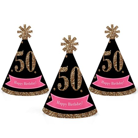 50th Birthday Hats (Chic 50th Birthday - Pink, Black and Gold - Mini Cone Birthday Party Hats - Small Little Party Hats - Set of)