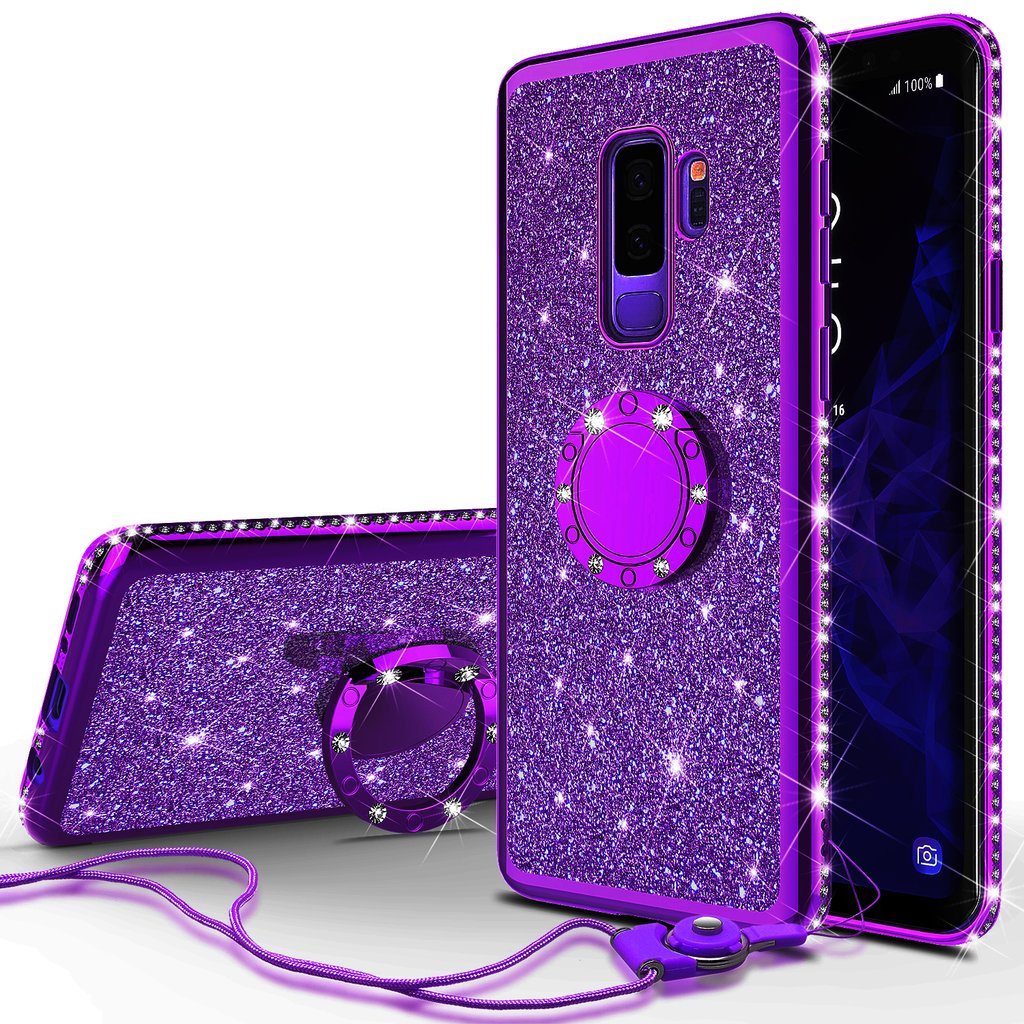 Glitter Cute Ring Stand Phone Case for Samsung Galaxy S9 Plus Case, Bling Rhinestone Bumper Kickstand Sparkly Luxury Clear Thin Soft Protective for Girls Women - Purple