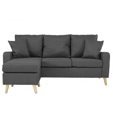 Mid Century Modern Linen Fabric Small Space Sectional Sofa with Reversible Chaise (Dark Grey) ()