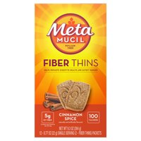 Metamucil Fiber Thins, Cinnamon Spice Flavored Dietary Fiber Supplement Snack with Psyllium Husk, 12 Servings
