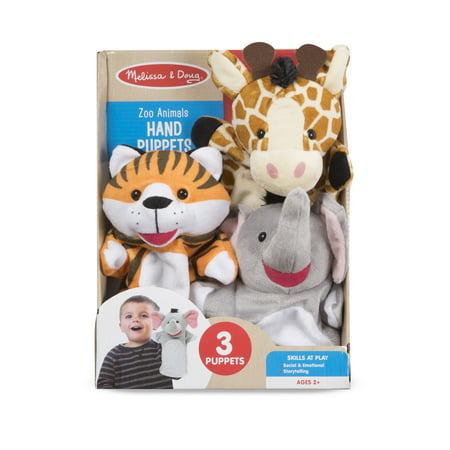 Melissa & Doug Zoo Animals Hand 3 Plush Puppets ()