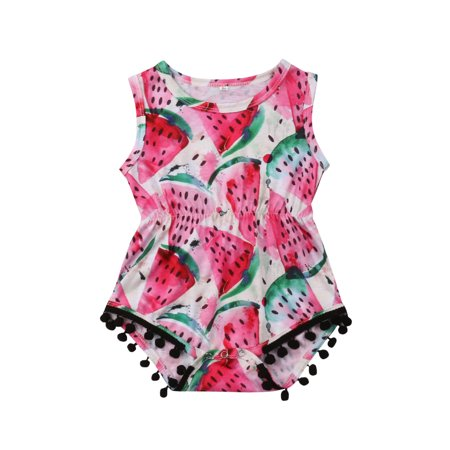 Cute Infant Baby Girls Sleeveless Tassel Watermelon Onesies Romper Bodysuit Casual Shirt Top Outfit](Cute Onesies For Juniors)