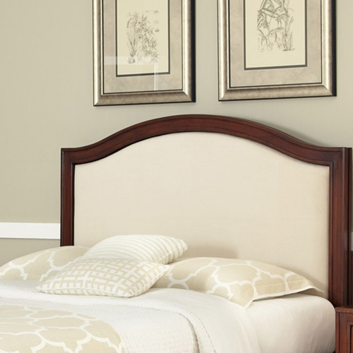 Home Styles Duet King/California King Camelback Headboard with Oyster Microfiber Inset, Rustic Cherry