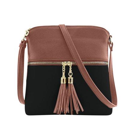 Double Tassel Zip Pocket Crossbody Bag