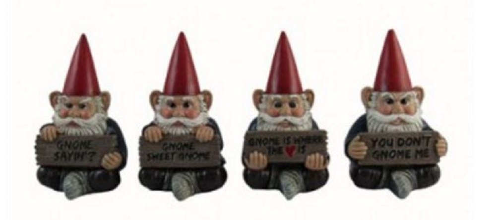 Gnome Sayin Miniature Garden Gnomes Holding Signs Figurines Set of 4 Mini New by DWK