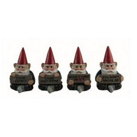 Gnome Sayin Miniature Garden Gnomes Holding Signs Figurines Set of 4 Mini New