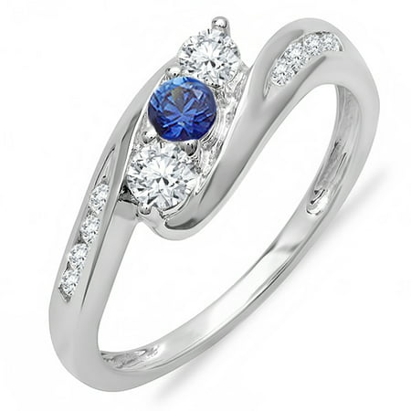 Dazzlingrock Collection 14K Round White Diamond And Blue Sapphire Ladies Swirl Engagement 3 Stone Ring, White Gold, Size 5.5